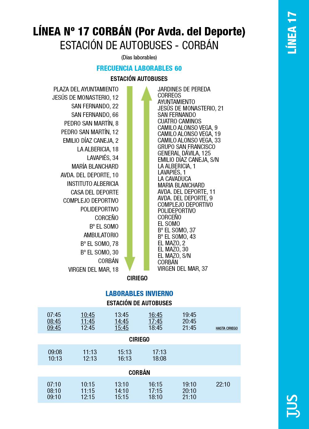 Linea 17 corb n por avenida del deporte servicio for Horario de oficina santander