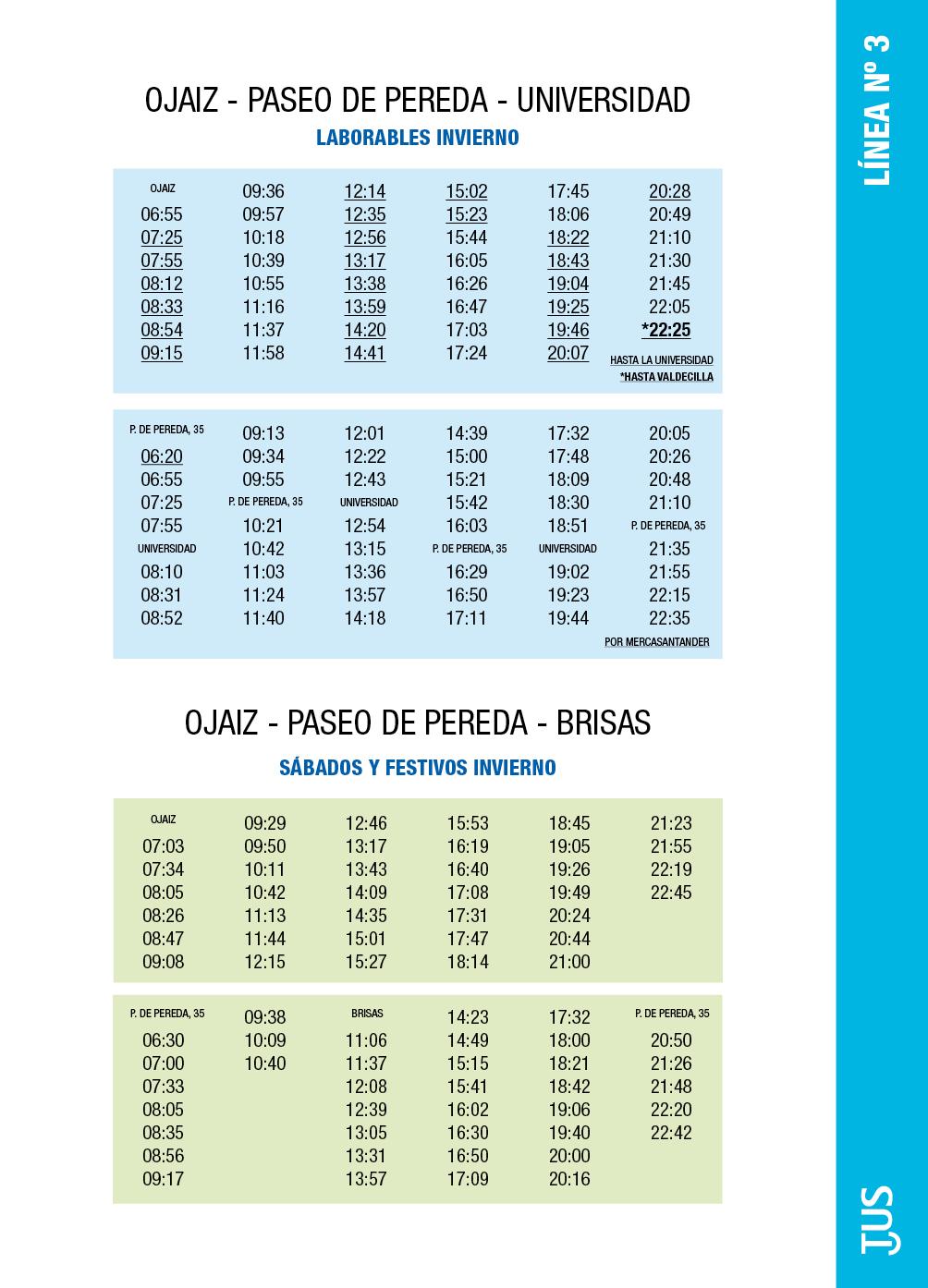 L nea 3 ojaiz servicio municipal de transportes urbanos for Horario de oficina santander